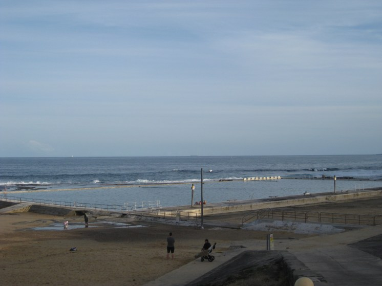 This is the Merewether Baths - an external pool filled with salt water from the ocean. There's one for nearly every stretch of the beach (Bryan has already tried the one at Bar Beach)