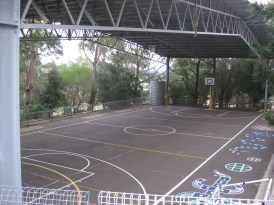 This is the playground of the public school across the street. It was very fancy - this court was HUGE