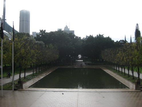 Looking out from the Anzac Memorial