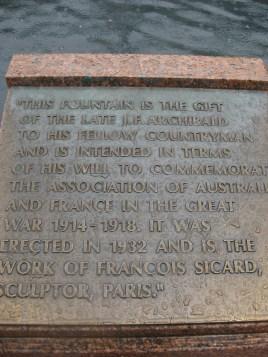 The Archibald fountain's inscription
