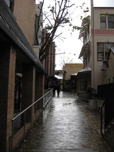 Wet cobblestone streets