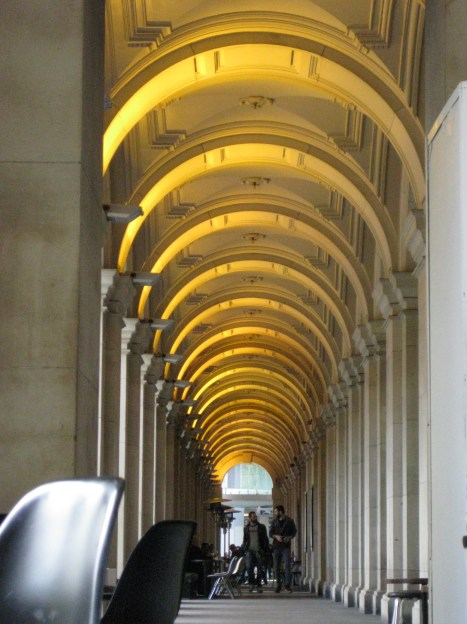 Looking down the outside corridor of the Melbourne GPO, General Post Office (now a mall)