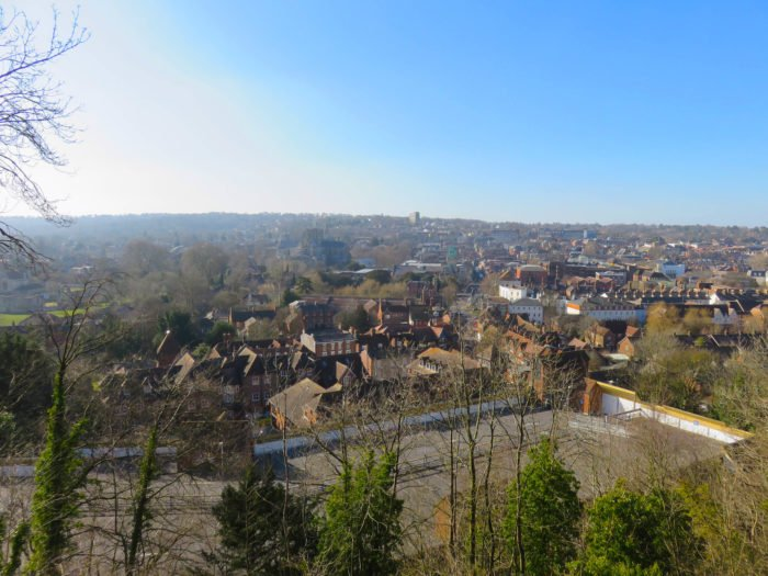 winchester view from the top of the hill