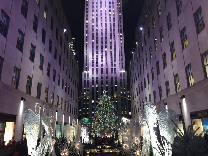 holiday decorations and christmas tree at rockefeller center in nyc