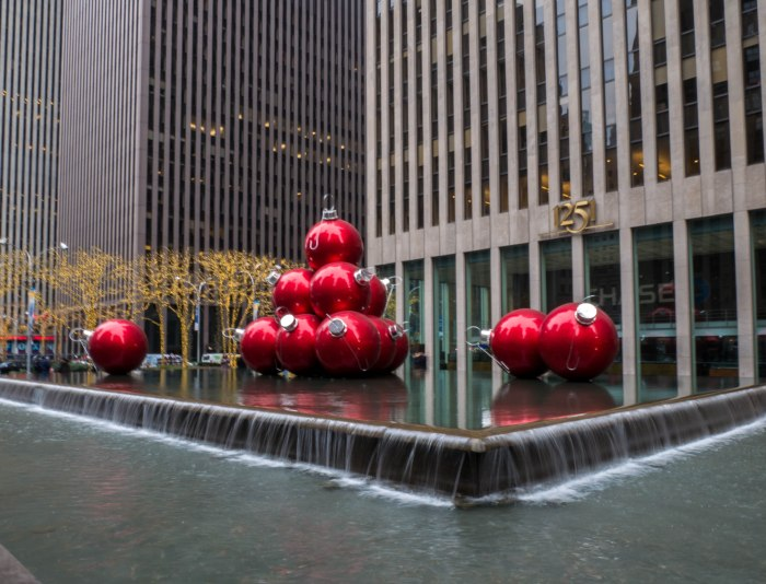 large christmas tree ornaments and holiday decorations outside radio city music hall