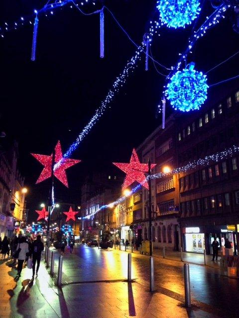 cardiff city street at night