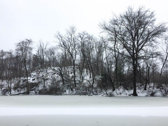 central park frozen lake storm stella
