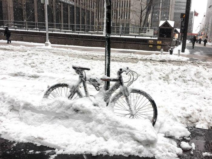 snow trapped bike nyc