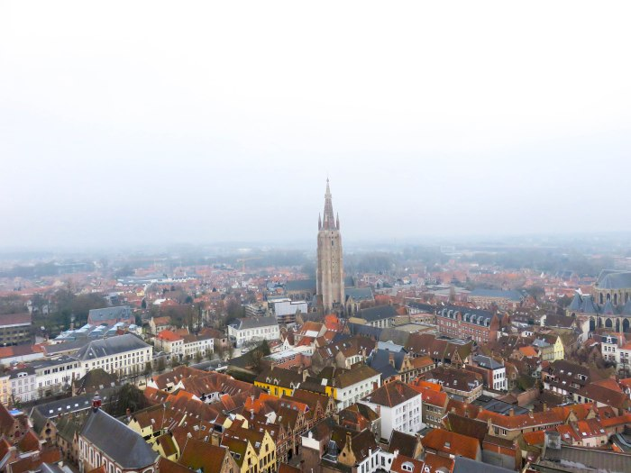 view of bruges from the top of belfry