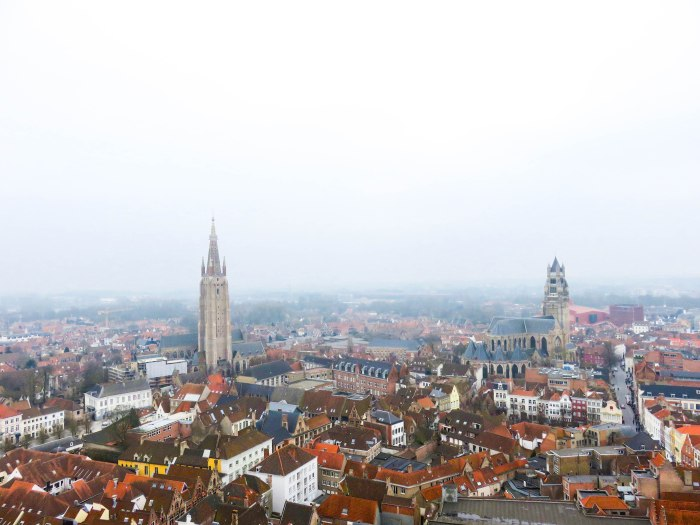 the top of the belfry in bruges belgium offers amazing views of the town
