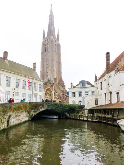 bruges canal with church