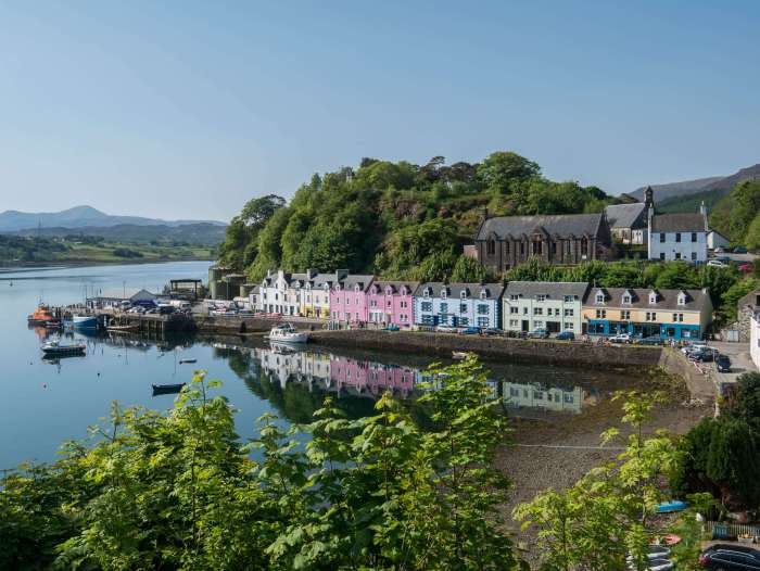 portree harbor from above isle of skye