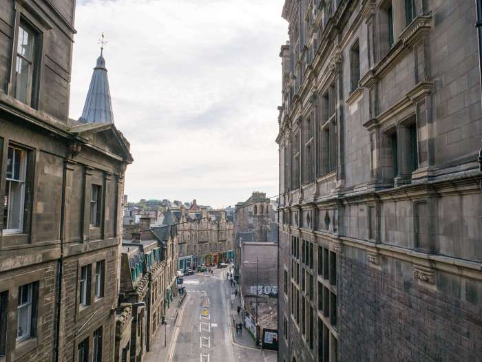 edinburgh streets from above - edinburgh is a very walkable city