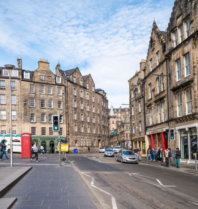view of the surroundings of grassmarket in edinburgh scotland