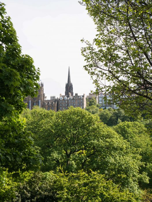 Image of Old Town Edinburgh from Princes Street during summer
