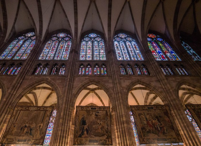 inside strasbourg cathedral tapestries at christmas