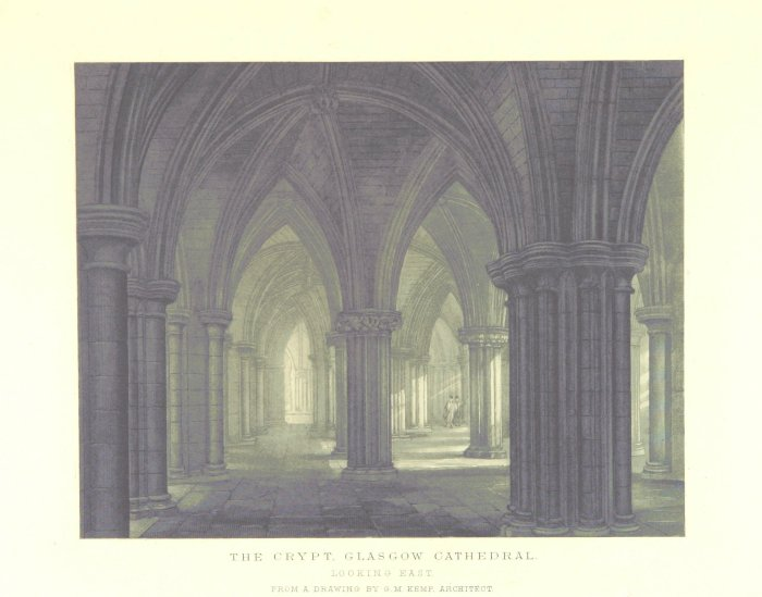 print of glasgow cathedral crypt from 1880