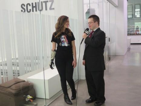 Rebekah Marine being interviewed by Life-Wire's Eric Schwacke.