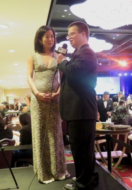 Christina Ha, Host of NYC-ARTS, with Eric Schwacke. Photo: Meredith Arout for Life-Wire News Service.