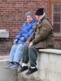 Eric Schwacke and Sam Stone on set. Photo: Joseph Padalino for Life-Wire News Service.