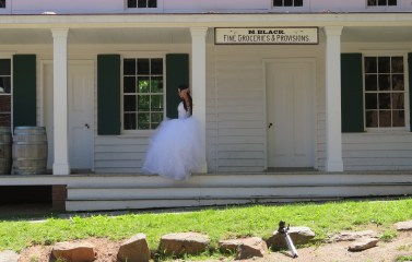 A bride at the General Store, Historic Richmond Town. Photo: Meredith A. for Life-Wire News Service.