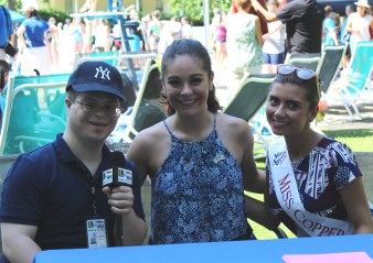 Eric Schwake interviews Jamie Lynn Macchia, former Miss New York State and Miss Copper City Ashley Davis. Photo: Meredith Arout for Life-Wire News Service.