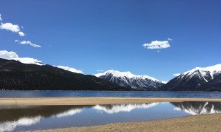 Twin Lakes in Colorado. Beautiful reflection of the mountains in the lakes in this photograph.