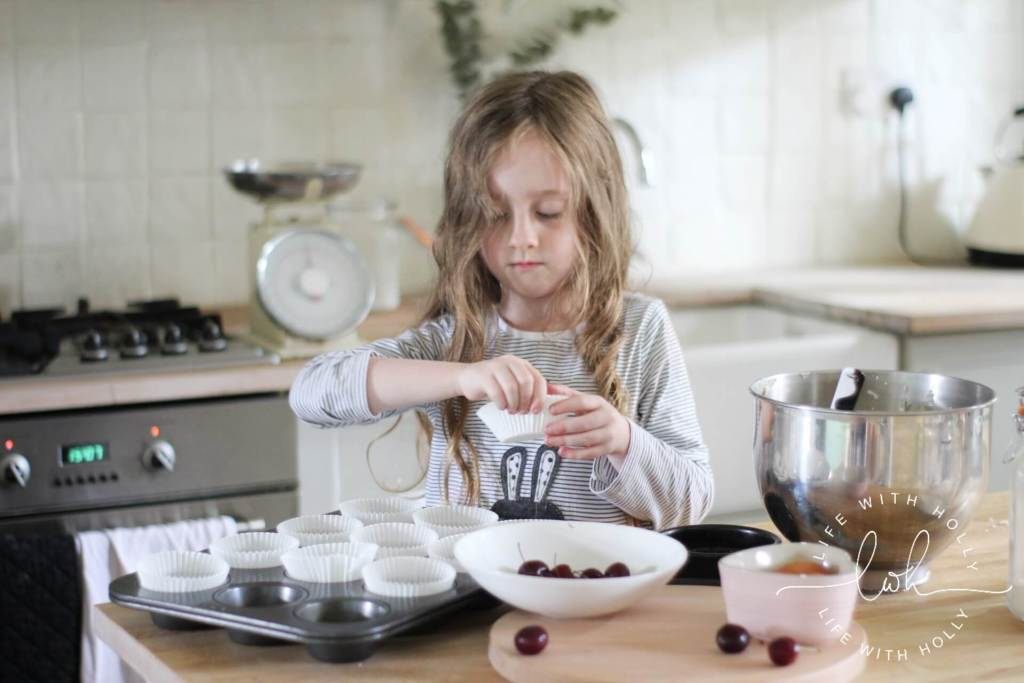 Easy Cherry and White Chocolate Muffins - Baking with Kids - Life with Holly