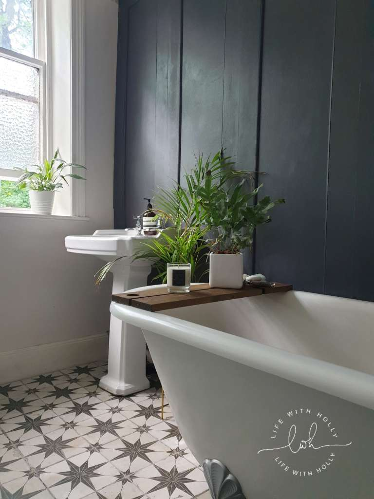 Floor Tiling Tutorial - Modern Victorian Bathroom with Dark Wood Wall Panelling by Life with Holly