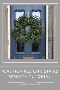 Greenery Foliage Christmas Door Wreath on Period Railings Front Door