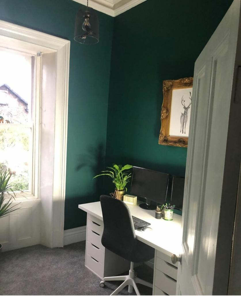 Home Office Spaces in Period Homes Love_this_old_house-on-Instagram-green-home-office - dark green walls