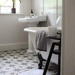 Our-Neutral-Bathroom-Makeover-by-Life-with-Holly-Modern-Victorian-Bathroom Grey Wall Panelling Star Tiles