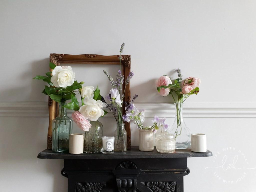 Vintage Frame with Fresh Garden Blooms Display Old Bottles - Cheaper Vintage Artwork