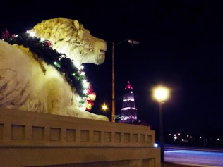 Carlyle Lion, with the George Washington Masonic National Memorial in the distance