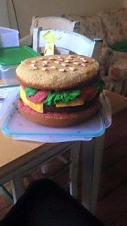 Gluten Free cake decorated like a beef burger created in February 2016.
