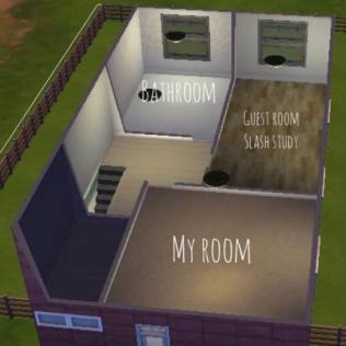 Option 1 (when dining room separate from kitchen and living room) has guest room study at front of house. Option 2 (when kitchen open plan) has guest room at the back beside bathroom