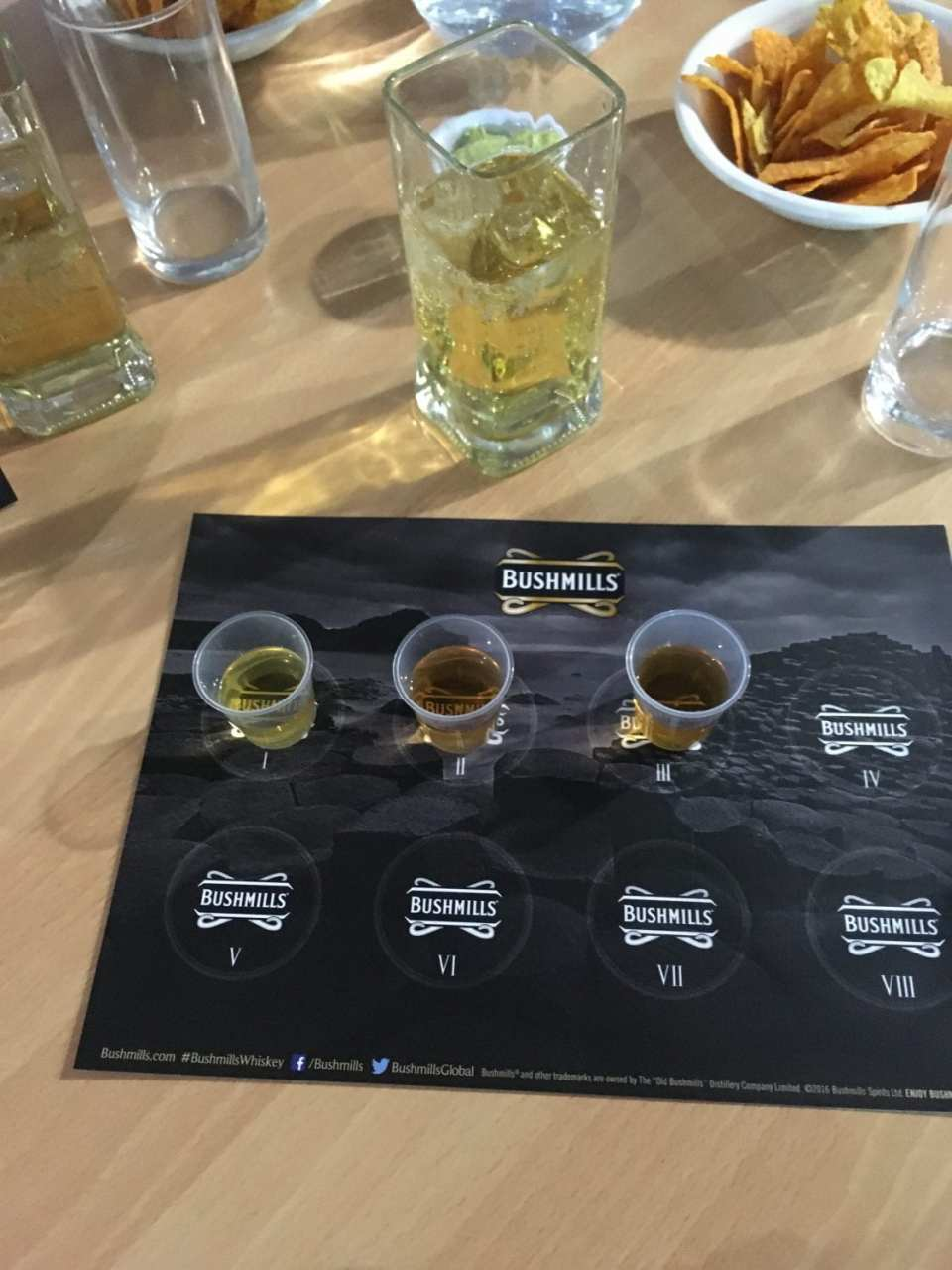 Three shot glasses containing three different Bushmills Whiskeys - the shading getting dark from left to right as the age of the whiskey increases