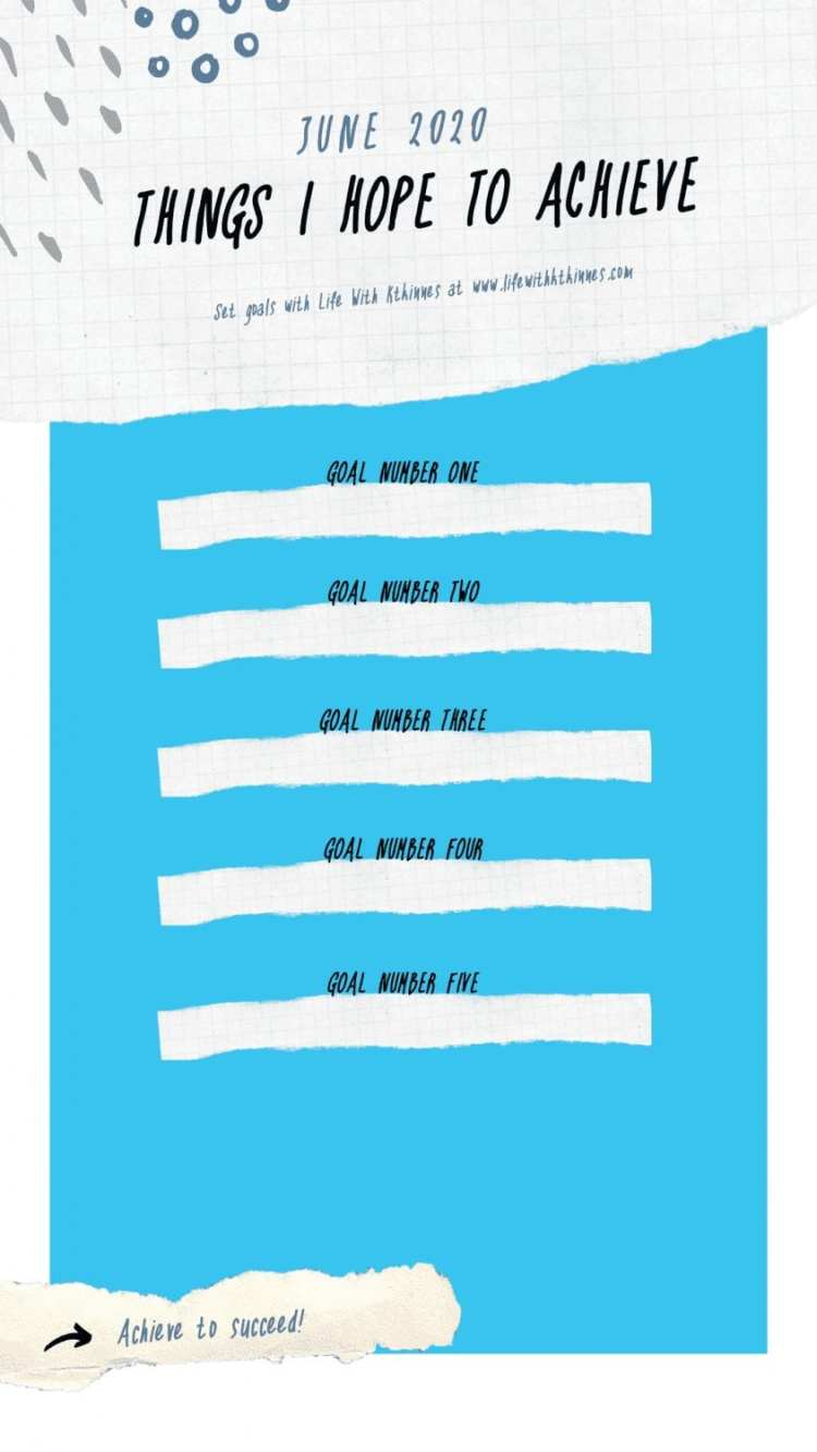 June 2020 Goal Setting Free Printable Template from Life With Ktkinnes