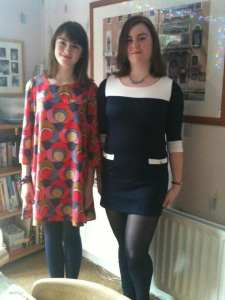 Rachel on left in red spotty dress, me on left - 2011 of my weight journey