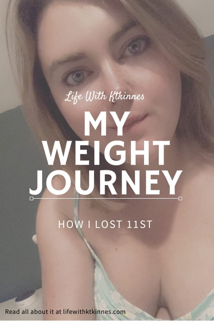 """Pinterest sized image with a photo of Katie in the background. White writing in the foreground reads """"Life With Ktkinnes. My Weight Journey. How I lost 11 stone""""."""