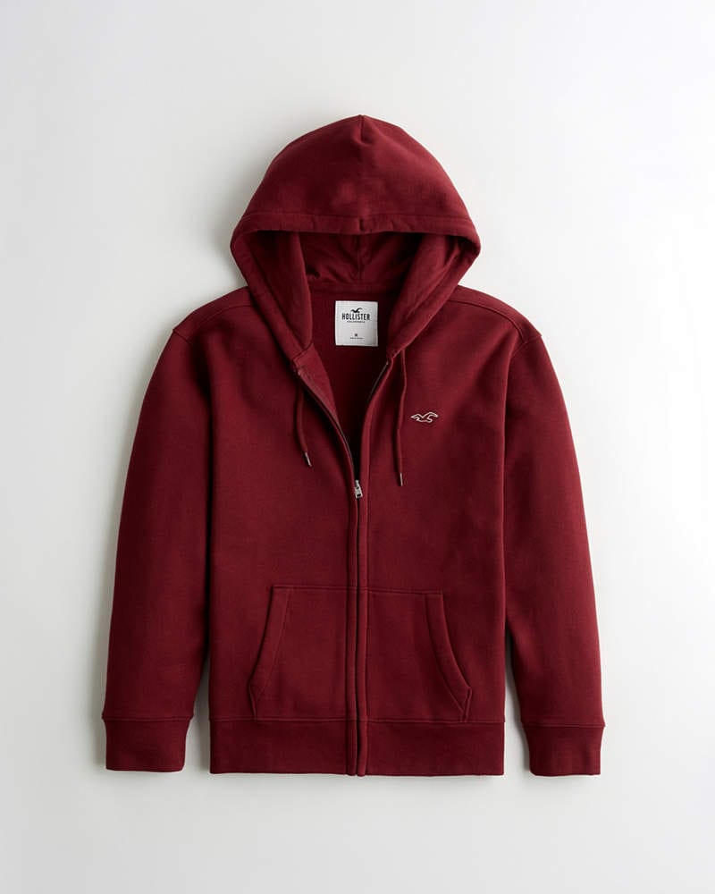 Burgundy full zip icon hoodie from Hollister