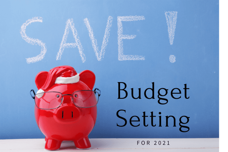 """red piggybank in front of a blue sign saying """"SAVE!""""and """"Budget Setting for 2021"""""""