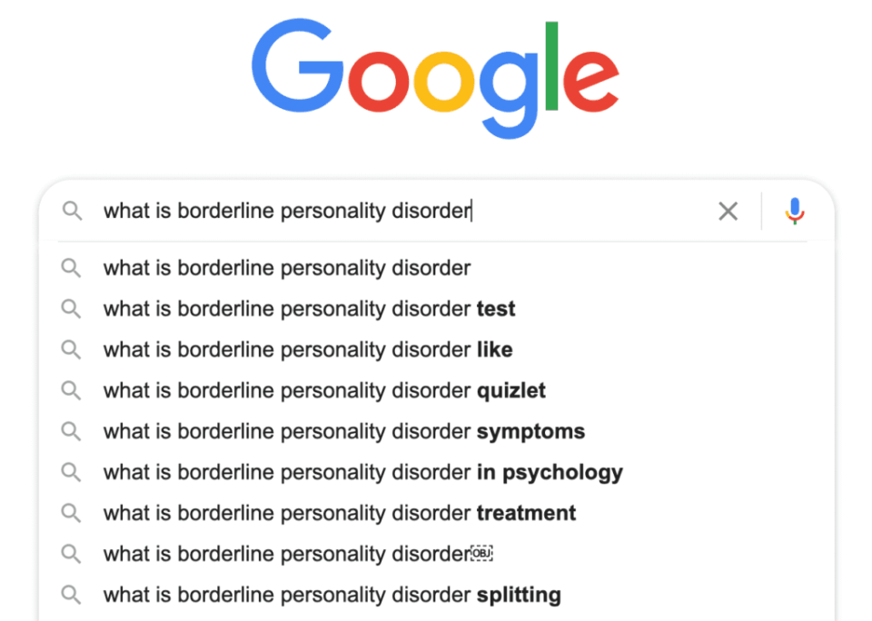 "Google search showing frequently asked questions relating to BPD using the initial search of ""what is borderline personality disorder""."