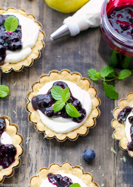 Tartlets with Mascarpone Whipped Cream and Blueberry Sauce - Feature HMLP 46