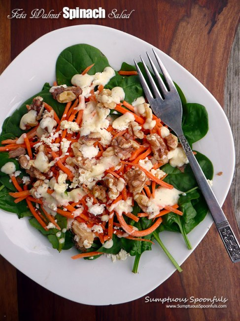 Feta Walnut Spinach Salad- Sumptuous Spoonfuls - Feature- HMLP 69