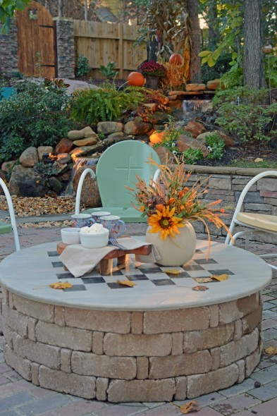 DIY Fire Pit Cover & Game Table - All Things Heart & Home - HMLP 86 - Feature