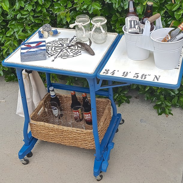 Repurposed Typewriter Table into Beer Cart - Altered Artworks - HMLP 86 - Feature