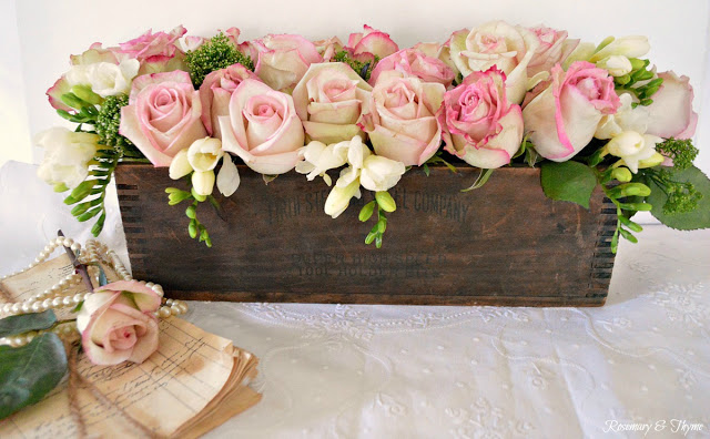 Wooden Box Rustic Floral Arrangement - Rosemary and Thyme - HMLP 131 Feature