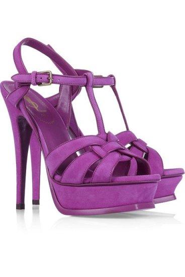 Yves Saint Laurent purple suede Tribute sandals
