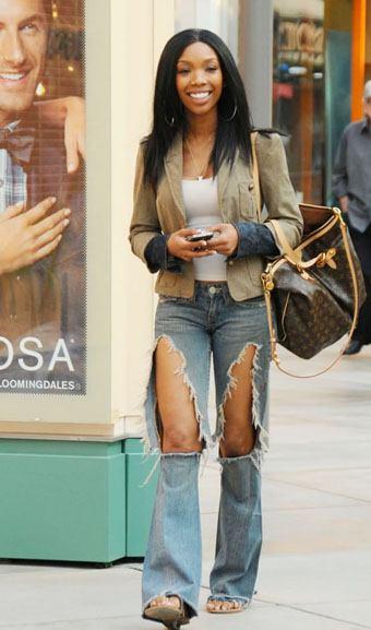 shredded distressed designer denim jeans with holes, Brandy